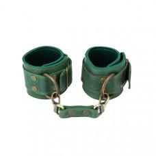 Премиум наручники LOVECRAFT зеленые, натуральная кожа, в подарочной упаковке