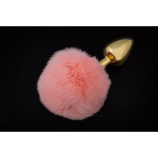 Маленькая золотистая пробка с пушистым хвостиком Пикантные Штучки, 7х3 см, розовый
