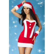 Сексуальный Рождественский костюм, красный с белым