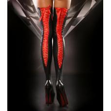 Чулки со шнуровкой Lolitta Lacing Stockings, черные с красным S/M