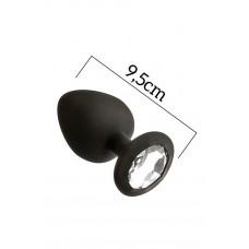 Анальная пробка с кристаллом MAI Attraction Toys №49 Black, длина 9,5см, диаметр 4см