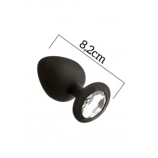 Анальная пробка с кристаллом MAI Attraction Toys №48 Black, длина 8,2см, диаметр 3,5см