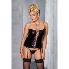 Корсет под латекс с пажами BES CORSET black 4XL/5XL - Passion, стринги, шнуровка