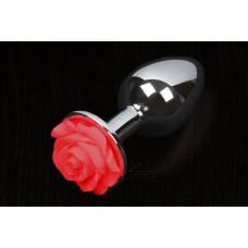 Пикантные Штучки Rose Large - большая анальная пробка, 8.5х4 см, красный
