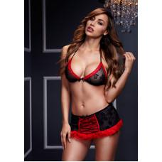 Сексуальный комплект черный с красной отделкой