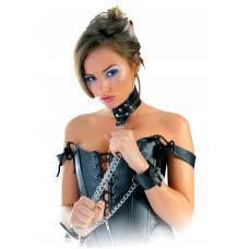 Pipedream Leather Collar and Cuffs ошейник с наручниками