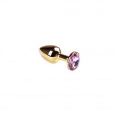 Gold Pink S - невероятная анальная пробка с кристаллом (золотая) 7,5х2,8см