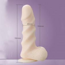 Фаллоимитатор с присоской Leten Super Muscle Large, диаметр 4см, ТПЕ, нежный на ощупь, рельефный