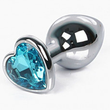Анальная пробка с кристаллом в виде сердца в мешочке, S, голубой