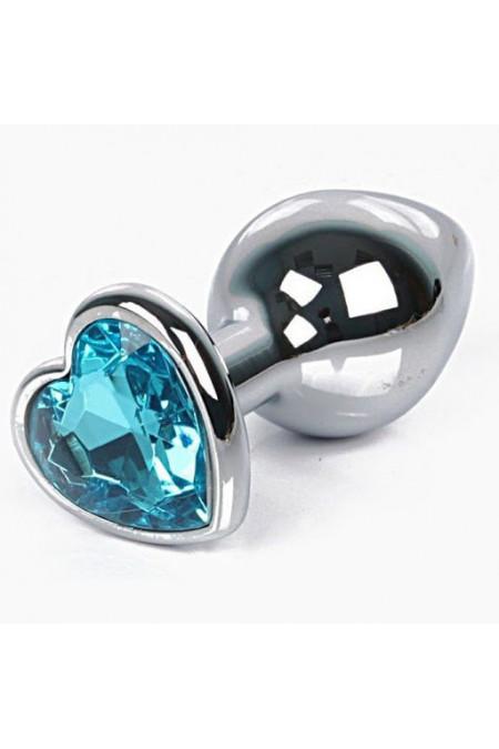 Анальная пробка с кристаллом в виде сердца в мешочке, L, голубой