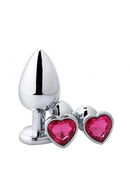 Анальная пробка с кристаллом в виде сердца в мешочке, L, розовый